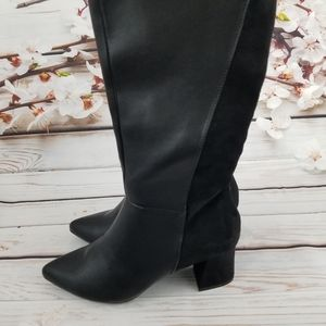 Tahari black leather/suede boots